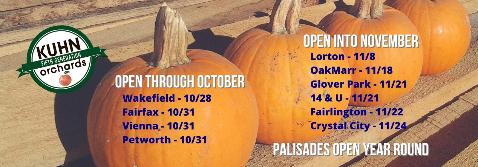 Fall Market Schedule